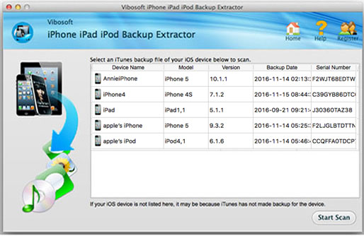 Detect the iPhone backup files